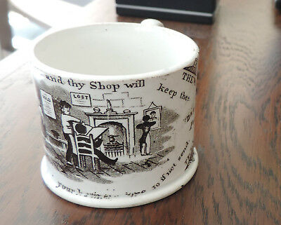 """Dr. Franklin """"Poor Richard""""  Cup from 1868 The Way to Wealth RARE Staffordshire"""