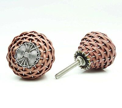 Decorative Knobs Bamboo Wood And Metal Wire Cabinet Pull Knobs Set of 6