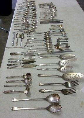 Vintage Antique Silverplate Flatware Craft Lot of 97 mixed pieces