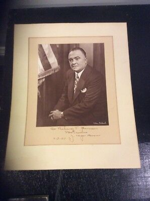 1957 Edger Hoover Signed Photo!  Dated 7/3/57 100% Genuine Signature!