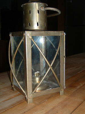 Vintage Style Lantern with Oil burner light, Old Reproduction, Heavy Brass Metal
