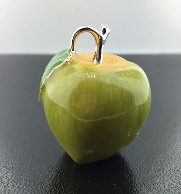 Sterling silver & hand enameled Green Saturno Apple figurine
