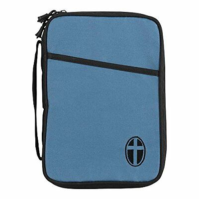 Slate Blue and Black Cross Polyester Thinline Bible Cover Case with Handle