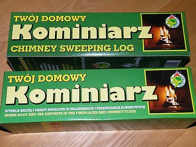 2X CHIMNEY CLEANING LOG SWEEPER FLUE SOOT and FIREPLACE CLEANER, ECO-SHINE