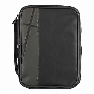 Black and Gray Cross Leather Look Bible Cover Case with Handle Large