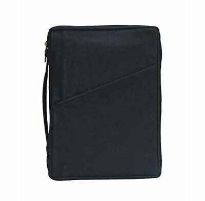 Black Classic 7.5 x 9.5 inch Leather Bible Cover Case with Handle Medium