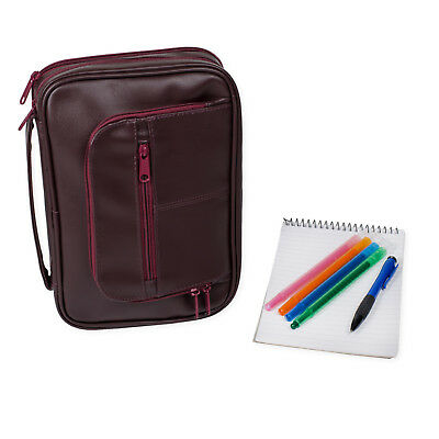 Bible Cover - Deluxe Organizer w/Study Kit-XLarge Burgundy