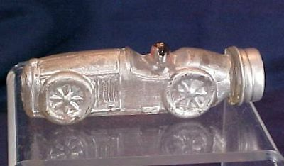 Vintage Race Car Racer Glass Candy Container Silver Black Paint #2 PA