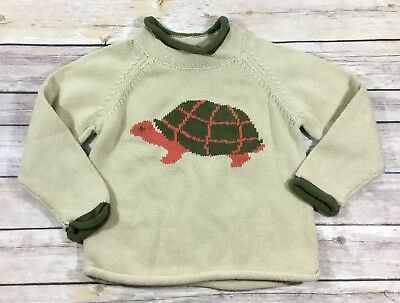 LL BEAN Boys Toddler Pullover Sweater 3T Turtle Hare Rabbit 100% Cotton Tan M8