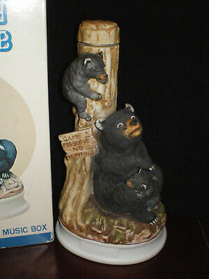 "Rare HOFFMAN Bear and Cub - Decanter with Music Box - 11.25"" tall"