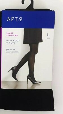NWT Apt 9 Black Opaque Control Top Tights Size L