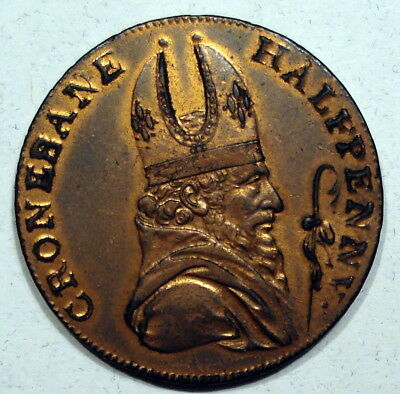 G.B. 1789 Irish Mine Company Cronebane 1/2 Penny Token - High Grade