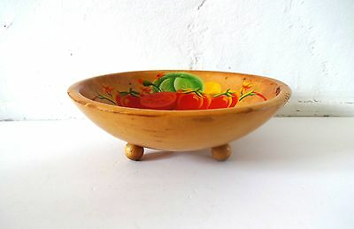 Vintage Rio Grande Hand-Painted Woodenware Painted Footed Salad Bowl with Red To
