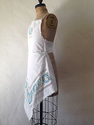 Vintage 1920s Cutwork Blue and White Linen Apron