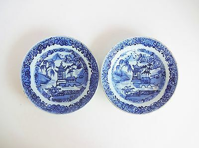 Pair of Antique 18th-Centry Kangxi Chinese Blue and White Plates