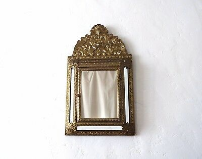 Antique French Louis XIII-Style Gold Metal Beveled Glass Mirror Hall Cabinet / W