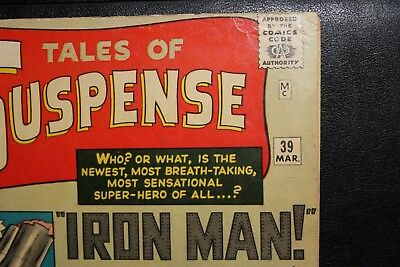 TALES OF SUSPENSE #39 -Ungraded! MARVEL Unrestored 1963 -1st App. IRON MAN