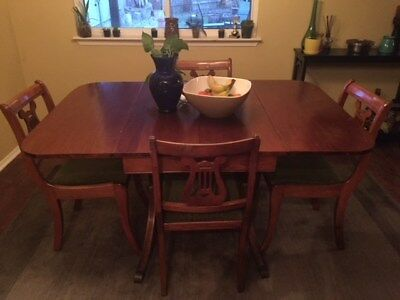 Vintage Duncan Phyfe Style Table & 4 Green Harpback Chairs