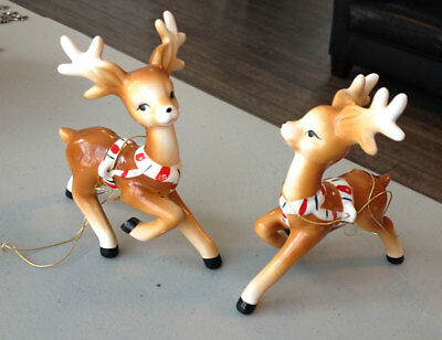 2 pc Vintage Lefton Ceramic Christmas Reindeer Candy Cane Harness Japan Sleigh