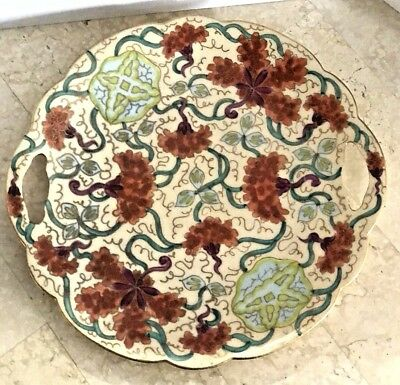 Antique Vienna Austria Ornate Hand Painted Floral Charger Serving Plate ESTATE!!