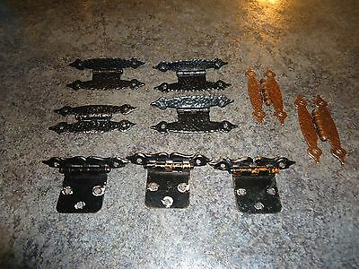 Lot of 9 Vintage mixed hinges, brass copper looking antique hinges for cabinets