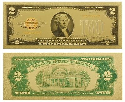 Usa 2$ Two Us Dollars 1928 Gold Certificate Coloured Banknote Gold 24K New Mint!