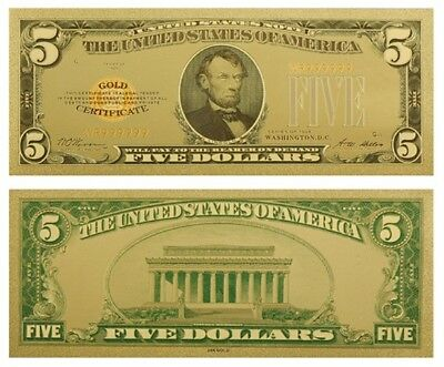 Usa 5$ Five Us Dollars 1928 Gold Certificate Coloured Banknote Gold 24K New Mint