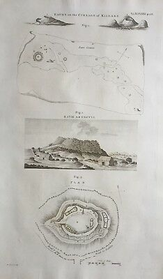 1789 Antique Print; Curragh of Kildare, Moat of Ardscull, near Athy