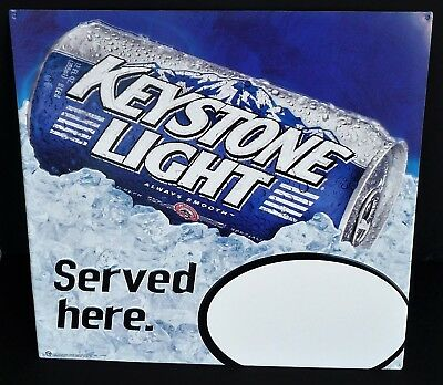 Keystone Light Beer Point of Sale (POS) Tin Tacker Can Shaped Metal Wall Sign