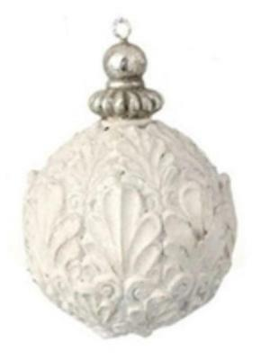 "2.75"" White Antique-Style Acanthus Leaf Glittered Christmas Ball Ornament"