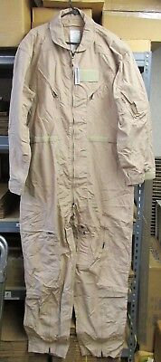 New Genuine U.S. Military Issue Tan CWU-27/P Flight Suit Pilots Coveralls 52 R