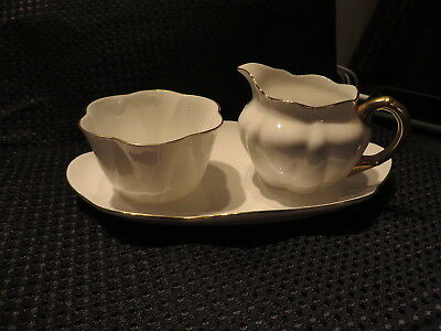 "Dainty Shelley Open Sugar &  Creamer Cream Jug 7"" Tray  REGENCY White Gold Trim"