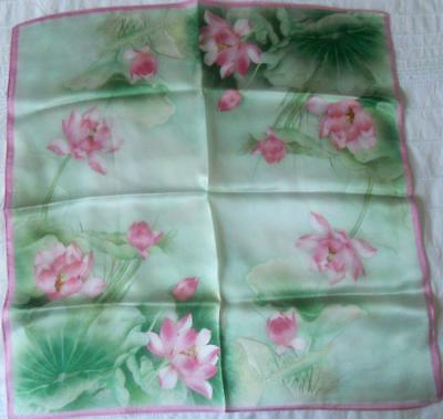 Gorgeous Pink & Green Pure Silk Scarf Square Waterlilies 53 X 53 Cm