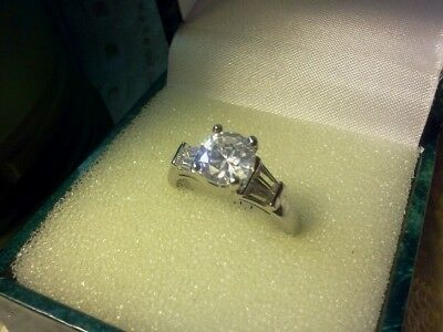 50's Vintage Style Diamond Cut White Topaz Engagement Ring w/ Crystal Baguettes