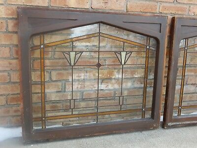 """TWO ANTIQUE STAINED GLASS WINDOWS, 34""""x29""""each. Frank Lloyd wright era."""