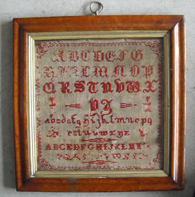 Antique 1800s Cross Stitch Needlework Alphabet Sampler Framed LOOK