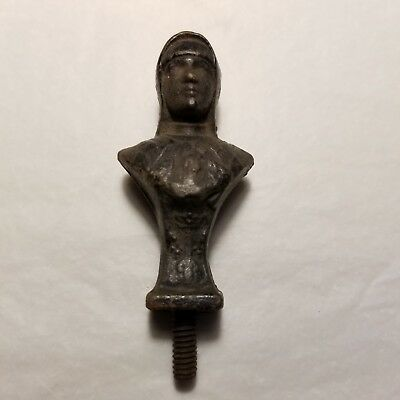 Antique Small Cast Iron Finial Clock Topper Statue Flag Pole of a Knight