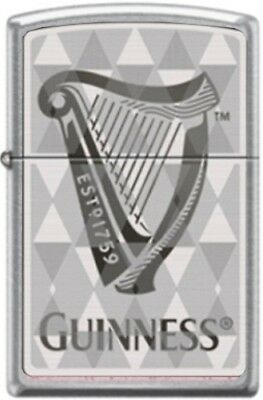Zippo Guinness Harp Logo Street Chrome Finish Windproof Pocket Lighter **NEW**
