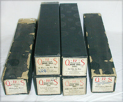 Nine (9) player piano rolls vintage QRS and Melodee brands good shape