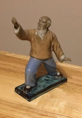 Vintage Hand Painted Ceramic Chinese Kung Fu Martial Arts Statue