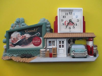 "Coca-Cola CLOCK  Route 66  CHEVY Burwood Products Co.  1990  #3130    22"" x 11"""