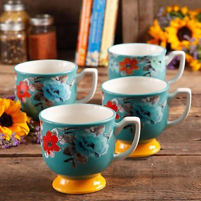 The Pioneer Woman Flea Market 15 Oz Footed Decorated Mugs, Turquoise And Set Of