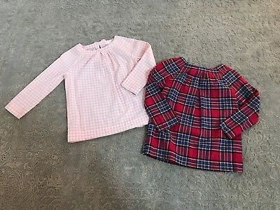 Lot 2 Crewcuts Cotton Voile Gingham and Plaid Shirts Tops Pink Red 8