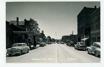 Penwater—Gas Service Station RPPC Main Street RPPC Vintage Photo—1950