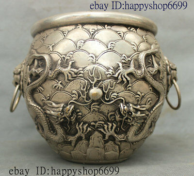 """7"""" Old China Palace Silver Double Dragon Lion Head Statues Incense Burner Censer"""
