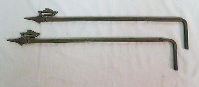 Pair of Vintage Antique Metal Curtain Swing Out Arm Extendable Rods Deco
