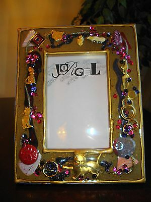 Vintage Wooden Picture Frame 6 Gold Cats Design Brown Enamel-like Surface
