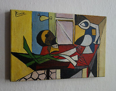Perfect, Very rare Cubist still life oil painting signed, Pablo Picasso with COA