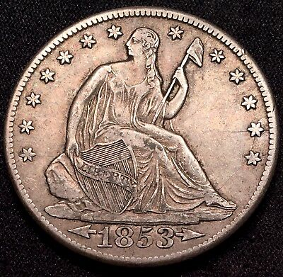 1853-O Seated Liberty Half Dollar Arrows and Rays - VF+ XF Very Fine Extra Fine