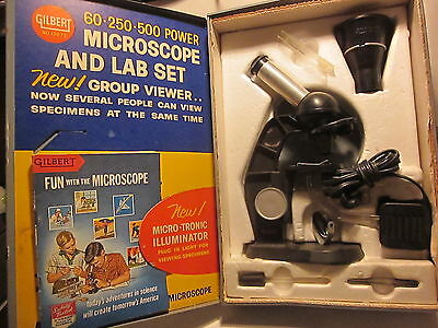 VINTAGE 1950s? GILBERT   MICROSCOPE LAB SET #13072, W/ METAL BOX